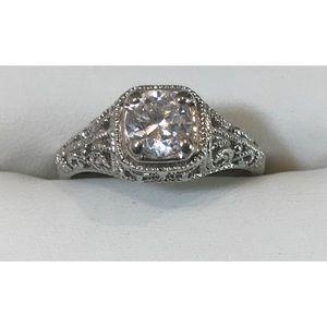 Vintage 925 CZ Art Deco Victorian Engagement Ring